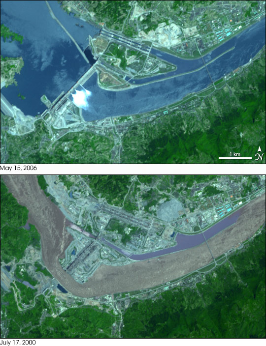 Three Gorges Dam; Yiling, China; Before and After Images of Dam Construction.