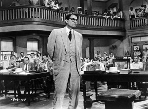 To Kill a Mockingbird (1962). Courtroom drama film in which Atticus Finch, a lawyer in the Depression-era South, defends a black man against an undeserved rape charge. Stars: Gregory Peck. (Photo by: Universal History Archive/UIG via Getty images)