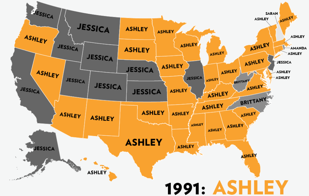 Six Decades of the Most Popular Girls Names: A Map! | Mappenstance
