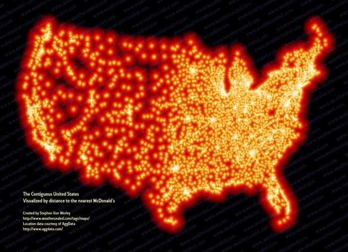 Map Of Mcdonald'S In The Us Map of the Week: Distance to the Nearest McDonald's | Mappenstance.