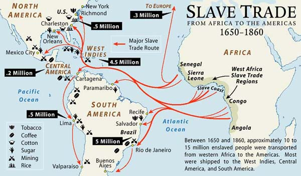 Map of the Week: Slave Trade from Africa to the Americas 1650 1860