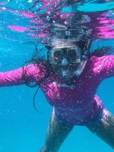 Snorkeling in a coral reef.