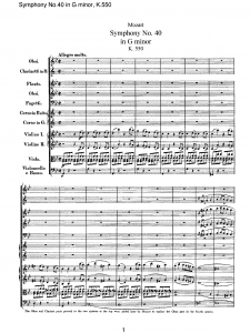 Score of Mozart's Symphony No. 40 in G minor