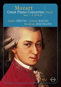We have many recordings of Mozart's Piano Concertos.   (This one happens to be on DVD.)