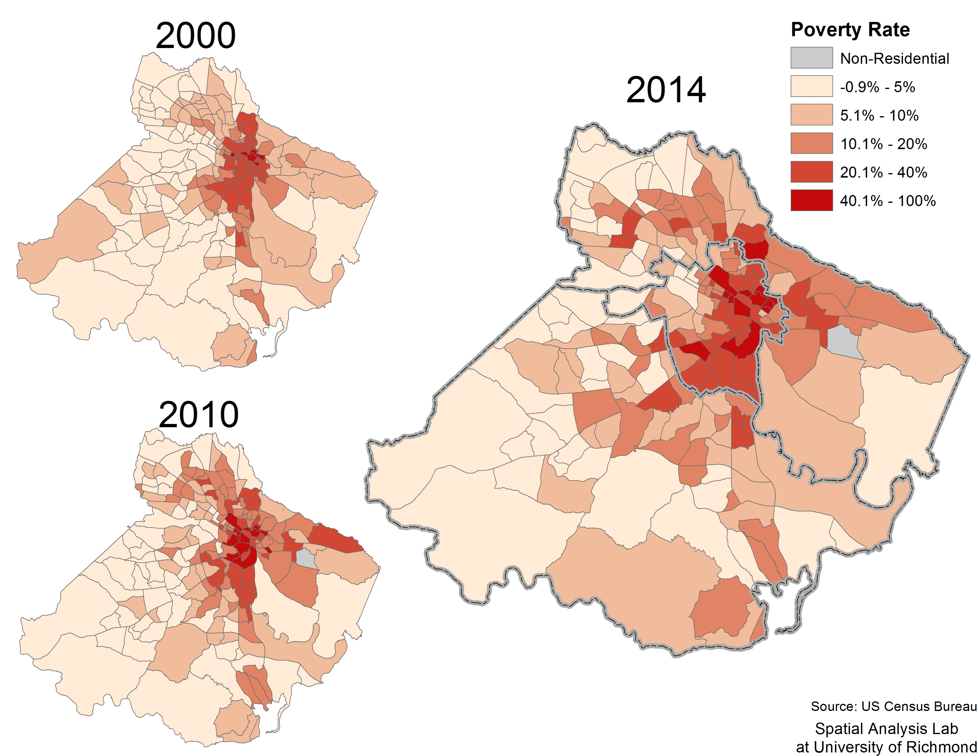 Poverty in Richmond, Chesterfield, and Henrico 2000-2014