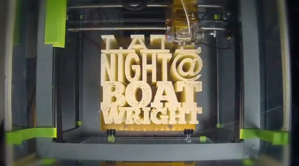 overhead photo of the 3D cube of letters taken while being printed