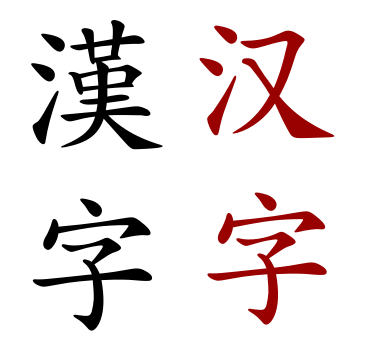 hanzi the ideogram for Chinese character in traditional and simplified