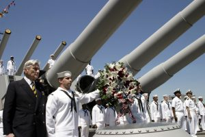 Senator Warner on USS Wisconsin