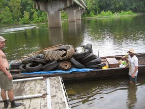 A bateau with tires retrieved from the James River