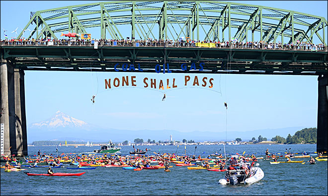 River Protest Blocking Arctic Drilling
