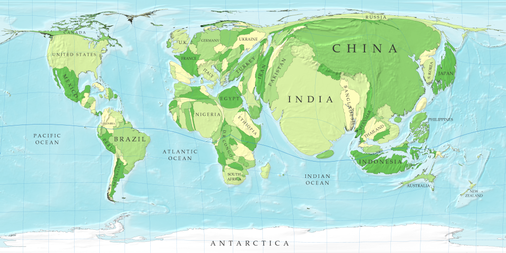 Map of the Week 6 October 2127 A Cartogram of the Worlds