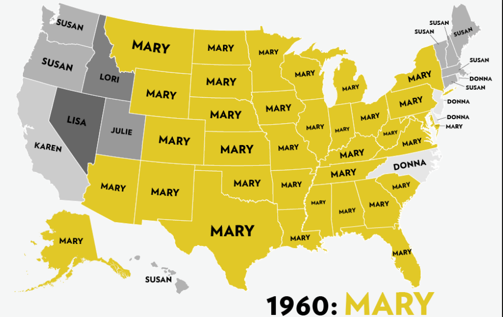 Six Decades Of The Most Popular Girls Names A Map -6924