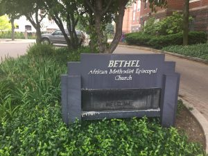 Obviously worn welcome sign, Bethel AME Church