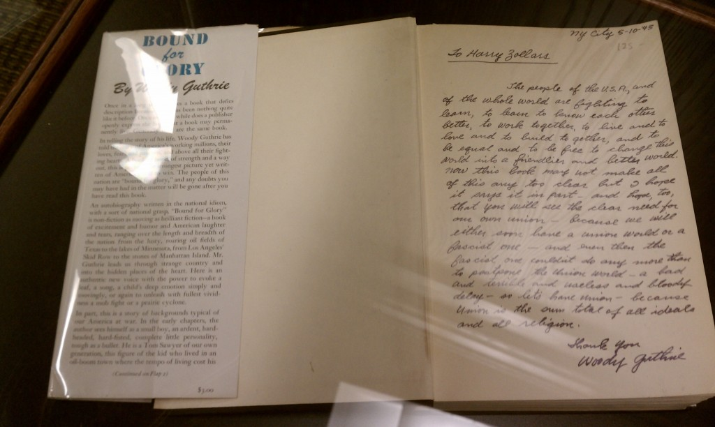 Woody Guthrie, signed letter to Harry Zollars