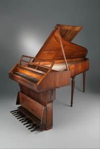 This grand piano is attributed to Johann Schmidt of Salzburg, a friend of the Mozart family, whom Leopold Mozart (Wolfgang's father) helped to secure the job of court organ and instrument maker in Salzburg. In the 1980s, an extensive cleaning revealed the initials of Wolfgang Mozart scratched inside long ago. It is possible that Mozart played this piano in Salzburg.  You can see this instrument at the Metropolitan Museum of Art now.  http://www.metmuseum.org/collection/the-collection-online/search/505526