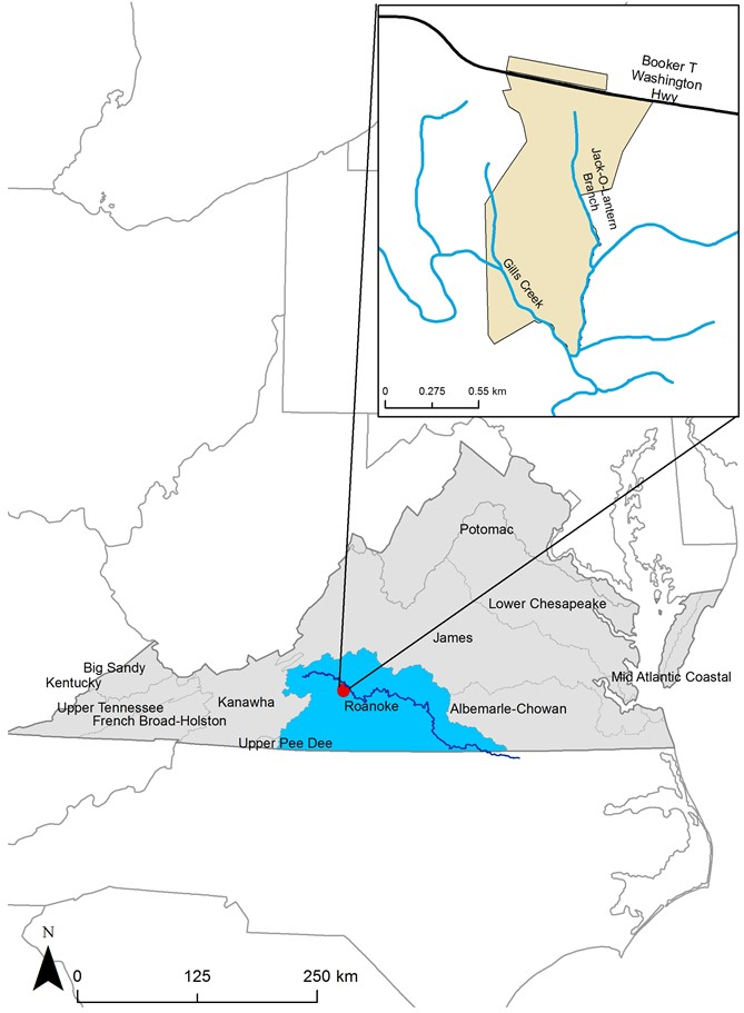 Watershed Context of Booker T. Washington National Monument, in the Upper Roanoke River Watershed