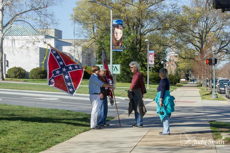 """Flaggers"" protesting with Confederate Flags outside of the VMFA. 