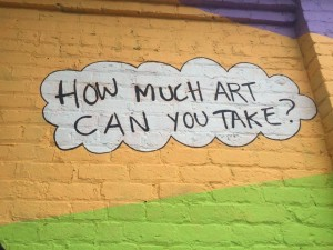 """""""How much Art can you take?"""" Street art outside the GRTC Depot."""