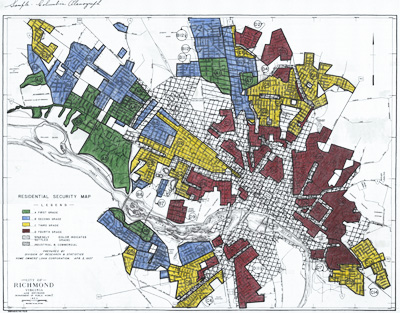 """1937 HOLC map of Richmond. Jackson Ward is one of the red areas zoned with the worst grade, """"D"""", presented as """"fully declined."""" These predominately African-American """"fourth-grade"""" areas were seen as unsafe for investment and were subsequently starved of funds. Photo credit: University of Richmond"""