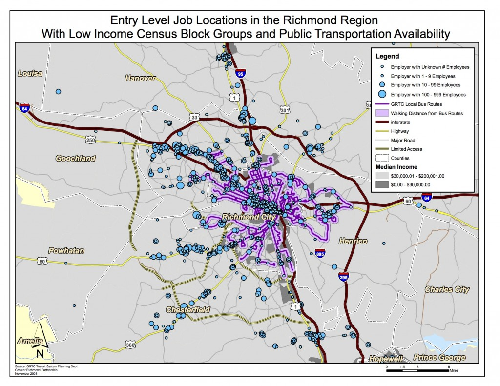 Map of entry-level jobs in relation to public transit lines.