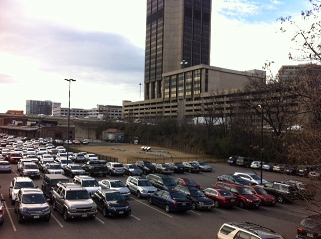 Lumpkins Jail site in a VCU parkinglot in the shadow the James Monroe Building.| Photo courtesy of Virginia Memory.