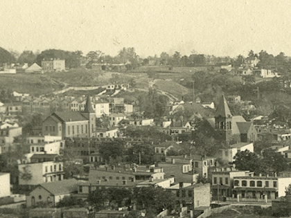 Aerial view of Fulton from Chimborazo Park from 1890. Valentine Collection
