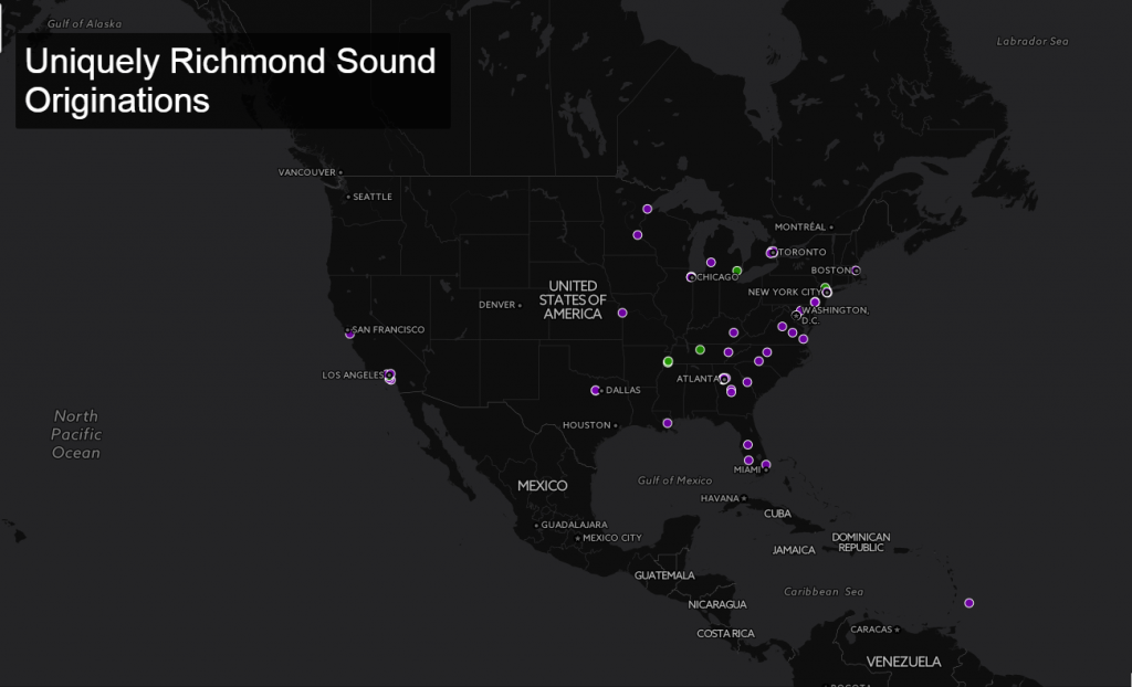 Richmond's Unique Sounds. View and interact wth the map at the end of this article.