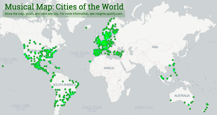 Map of the world's cities linked to their unique Spotify playlists.