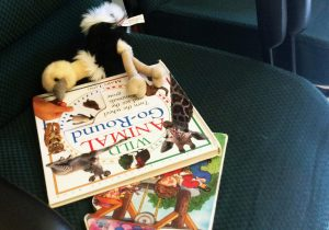 The 4-year-old girl picked up two books and a stuffed ostrich. Photo by Thess Pfferr